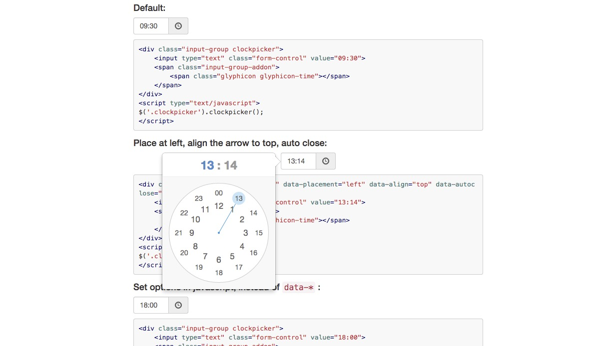 ClockPicker – elegant way to choose time