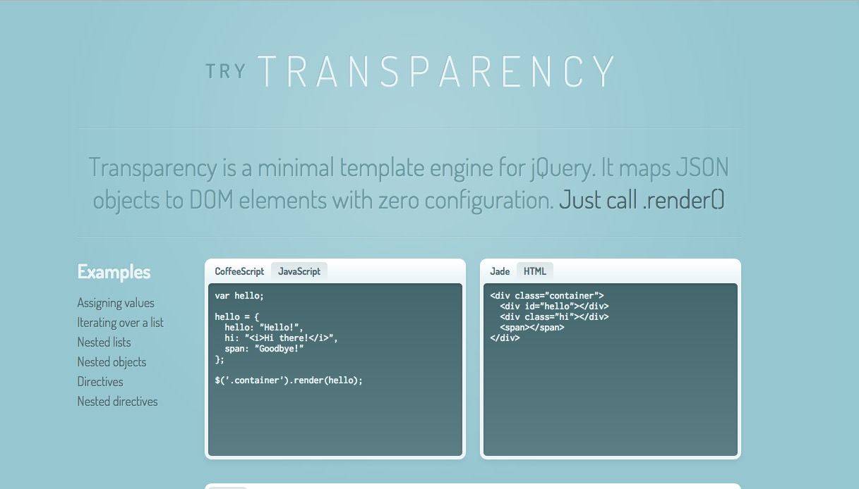 Transparency – minimal template engine that maps JSON objects to DOM elements