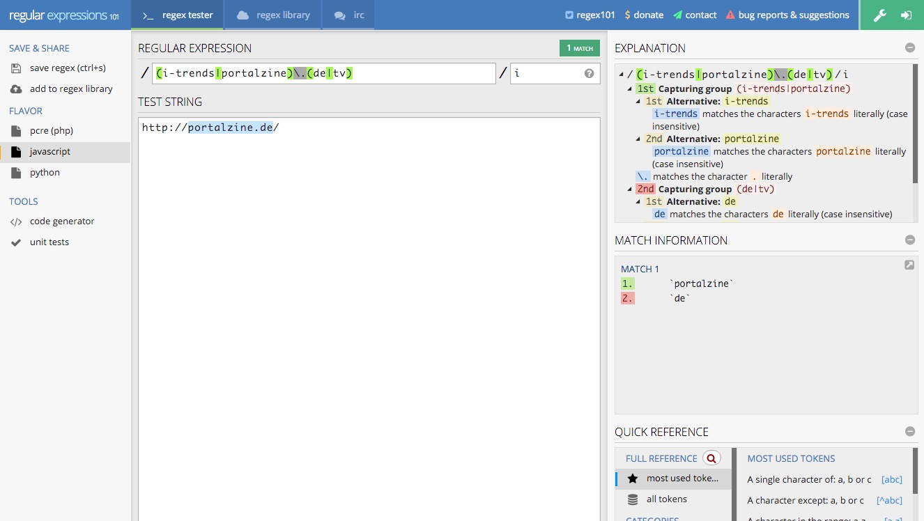 RegEx101 – Online regex tester and debugger: JavaScript, Python, PHP