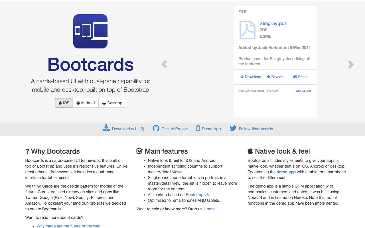 Bootcards – cards-based UI with dual-pane capability for mobile and desktop