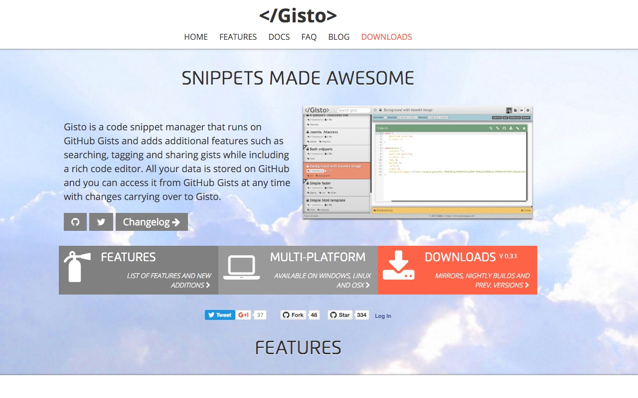 Code snippet manager for GitHub Gists – </Gisto></noscript>