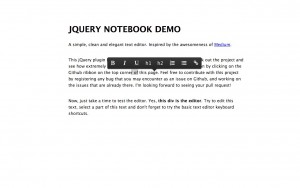 Inline editing / WYSIWYG editing with jQuery-Notebook