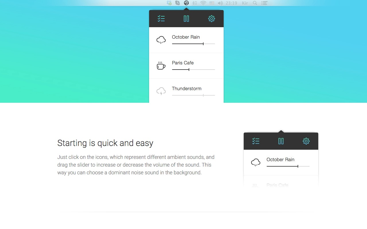 Play Ambient sounds that help you focus with Noizio
