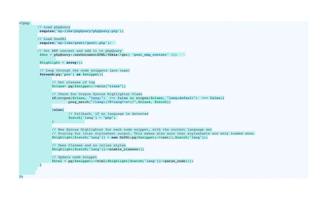 Make Syntax Highlighting work in AMP-WP using GeSHi