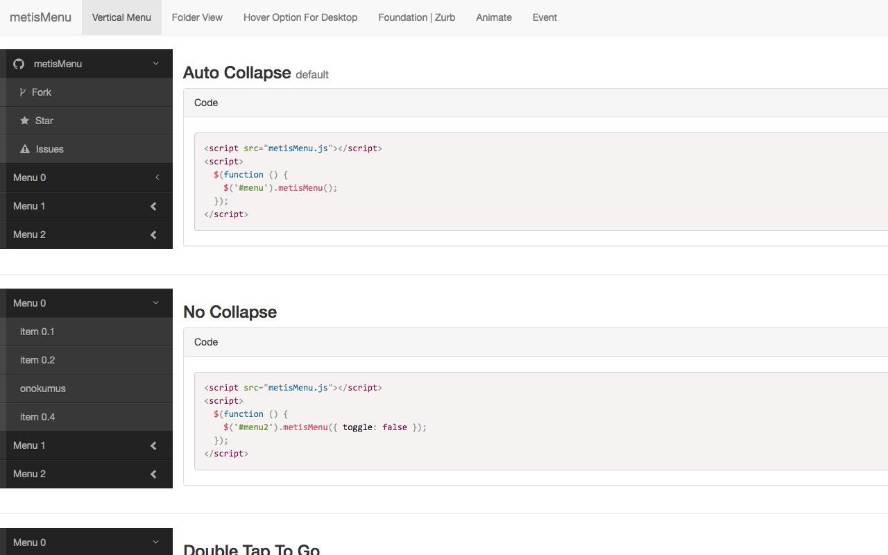 metisMenu  … a jQuery menu plugin