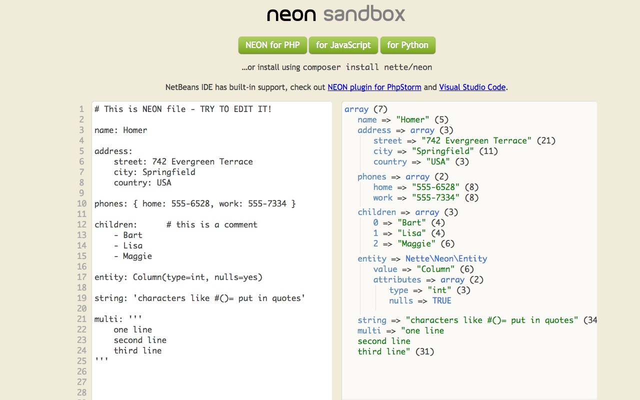Nette NEON – simplify your config files