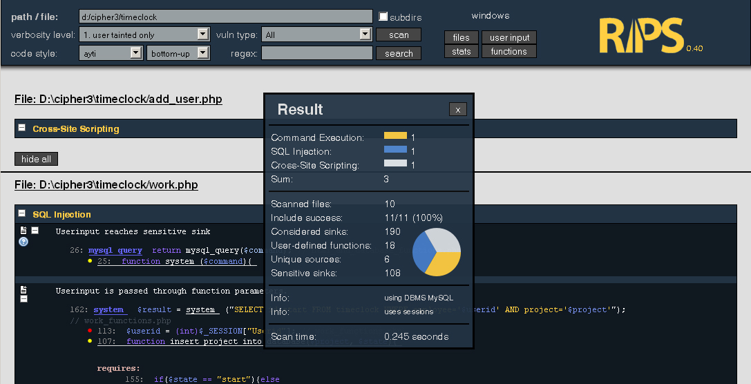 RIPS – A static source code analyser for vulnerabilities in PHP scripts