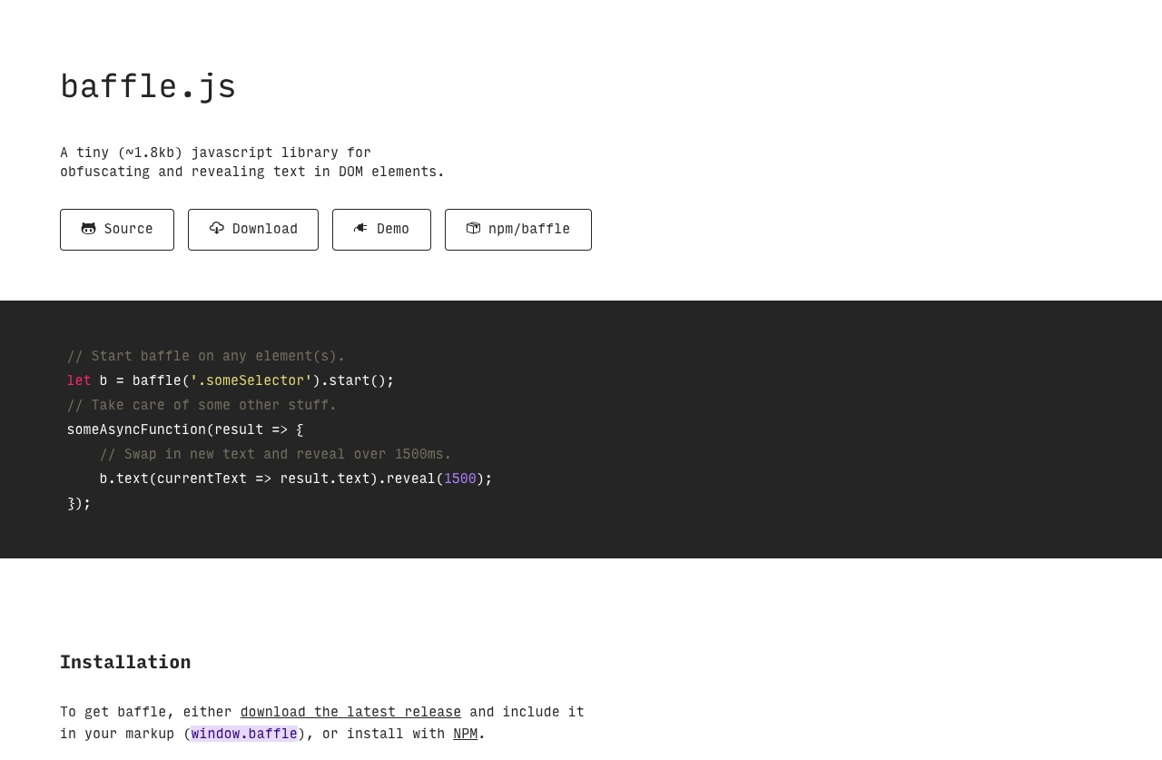baffle.js to obfuscate and reveal text in DOM elements