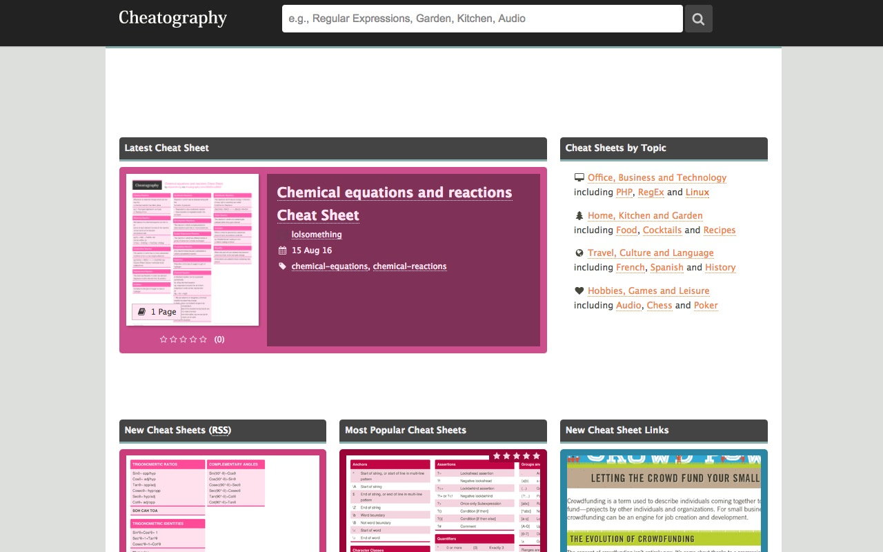 Cheatography … cheatsheets for almost anything