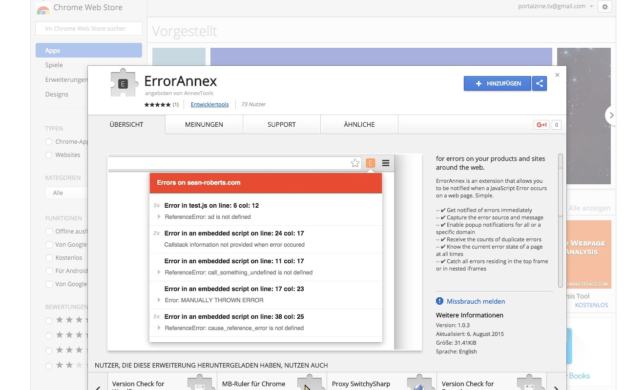 Chrome Extension: ErrorAnnex