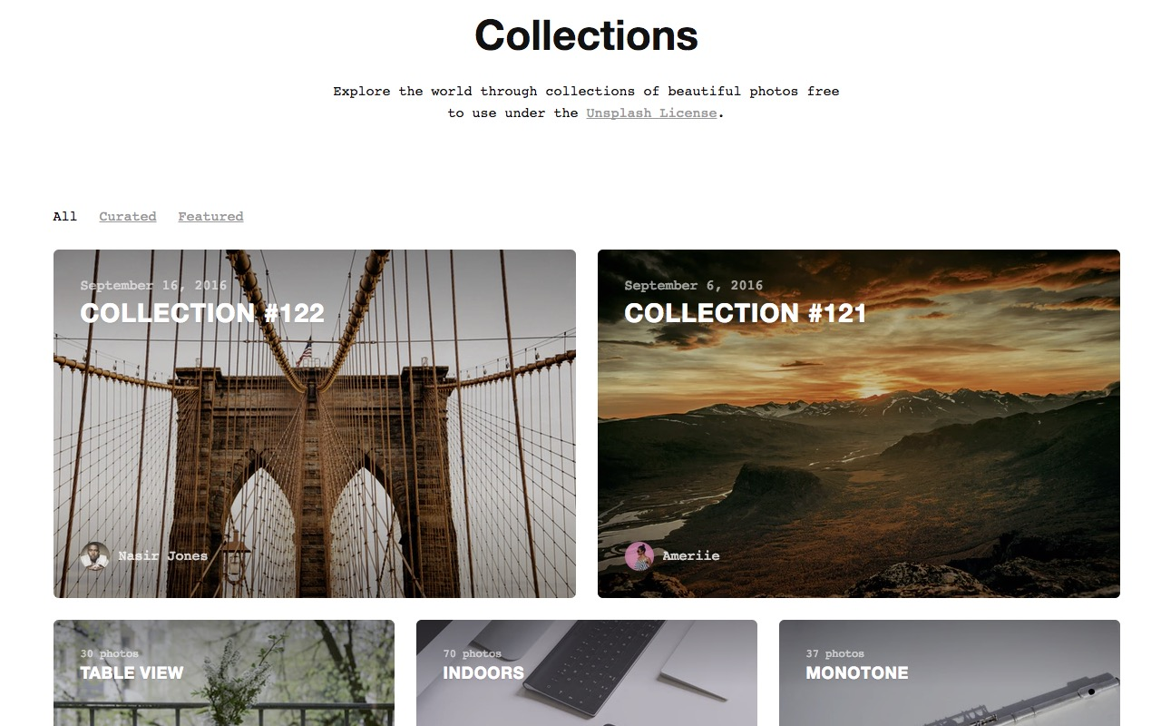 Unsplash – free to use images for your next project