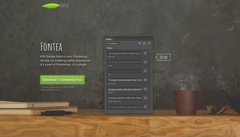 Fontea … use those Google fonts easily with Photoshop.
