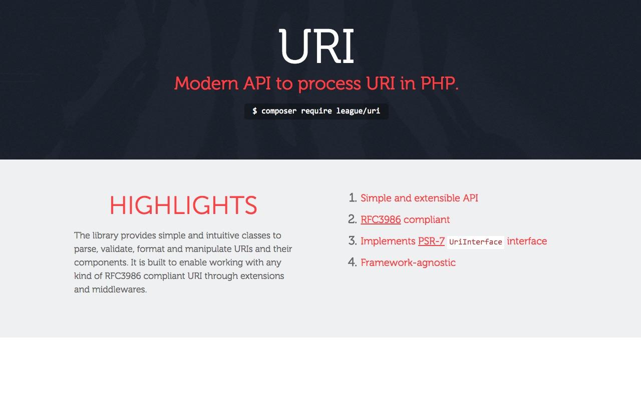 Modern API to process – URI – in PHP