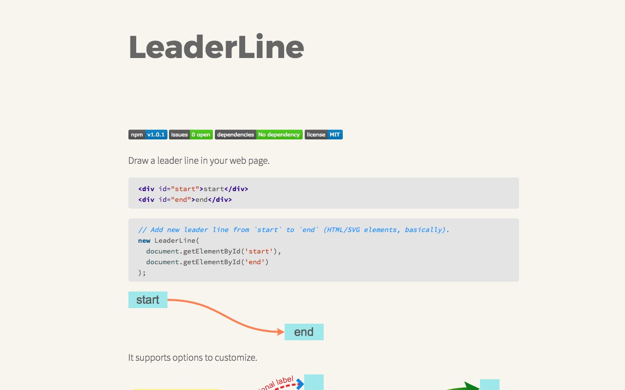 Easy leaderlines for your webpage