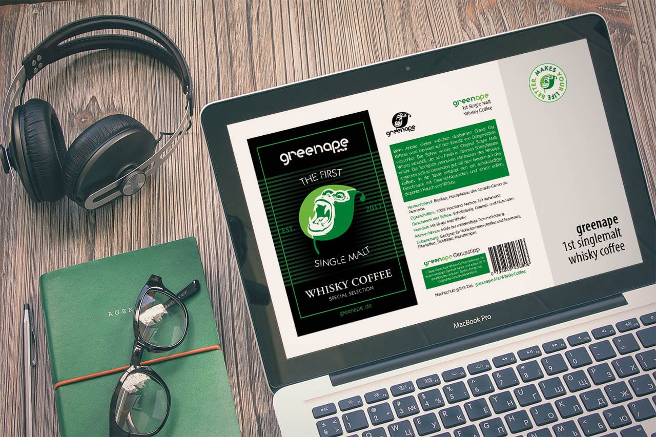 GreenApe 1st Single Malt Whisky Coffee Label 2017