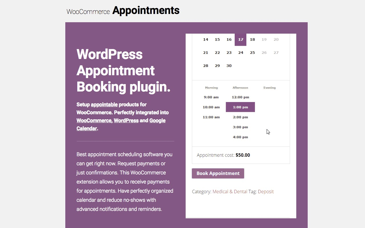 WooCommerce Appointments Enhanced with an Availability Calendar